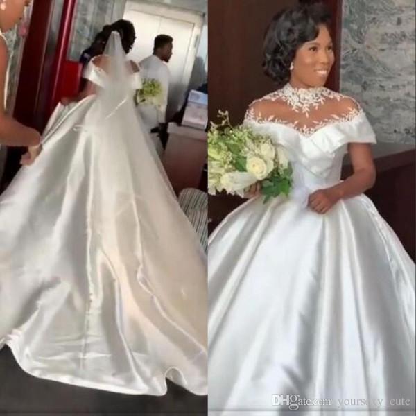 Discount African Plus Size Wedding Dresses High Neckline Lace Appliques Satin Modest Wedding Dress Count Train Country Bridal Gowns Vestidos Dresses