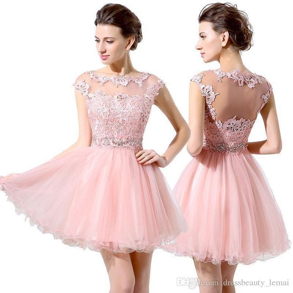 Cute Pink Short Prom Dresses Cheap A-Line Mini Tulle Lace Beads Cap Sleeves Homecoming Dresses