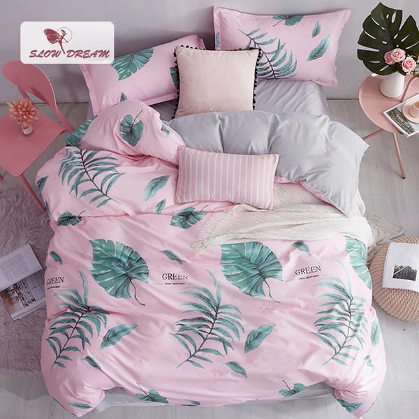 SlowDream Green Leaf Pattern Bedspread Pink Decor Bedding Set Duvet Cover Flat Sheet Pillowcase Nordic Bedclothes Home Textiles