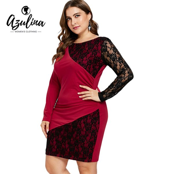 2019 Rosegal Plus Size Lace Panel Bodycon Dress Women Black Red Patchwork  Long Sleeve Knee Length Party Dress Fall Dress Vestidos From T_shop008, ...