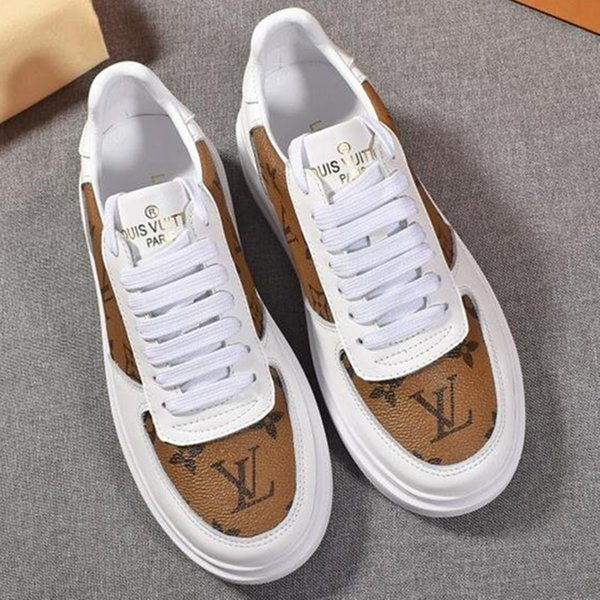 top popular New men's and women's sports shoes luxury designer shoes leather letters color matching lace-up low flat fashion casual couple running shoes 2020