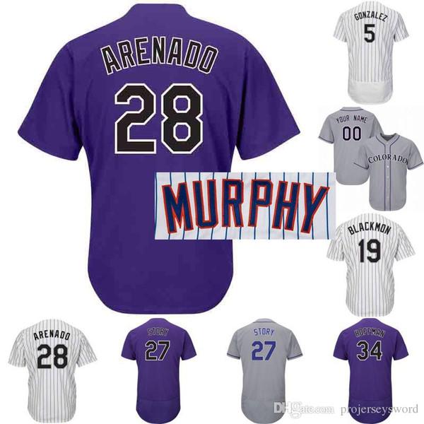 Jersey du Colorado 9 Daniel Murphy 71 Wade Davis 19 Charlie Blackmon 27 Trevor Story 28 Nolan Arenado Hommes Femmes Rockies Baseball Jersey