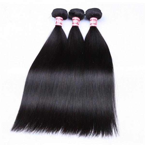 Paquetes de armadura de cabello recto Paquetes de cabello humano 100% 1pc Color natural Extensiones de cabello Pelos Tramas Maquillaje