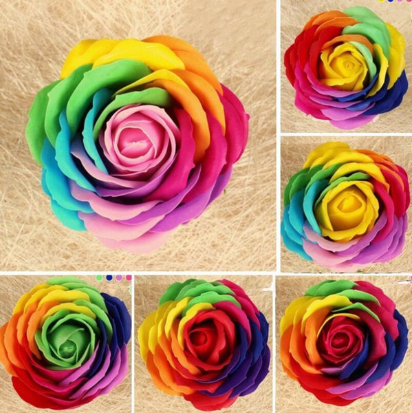 8 CM Rainbow 7 colorido Rose Soaps Flor Empacado Suministros para bodas Regalos Artículos para fiestas Artículos Favor del jabón de baño Perfumados accesorios de baño