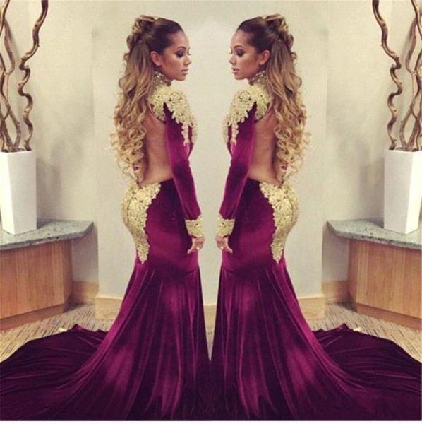 Atemberaubende Langarm Gold Appliques Mermaid Prom Dresses Sweep Zug Samt Open Back Abendkleider