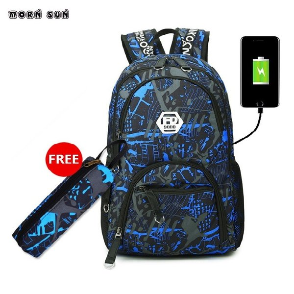 Brand for young people school bag USB charging interface backpack 15.6 inch laptop school bag backpack for girls anime