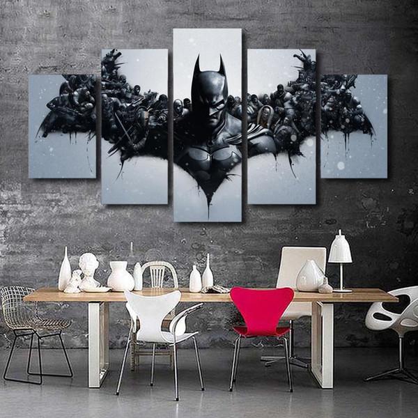 Film karakterleri Batman, 5 Parça Ev Dekor HD Baskılı Modern Sanat Boyama Tuval üzerine (Çerçevesiz / Çerçeveli)