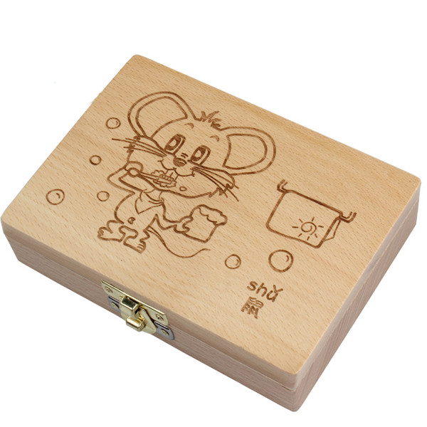 Tooth Organizer Baby Save Milk Teeth Wood Storage Box Great Gifts 3-6years Creative For Kids Chineses Zodiac Rat Q190530