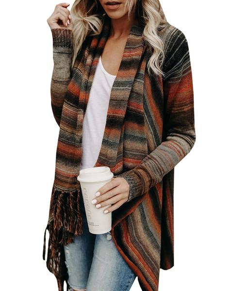 2018 Suit-dress Tassels Sweater Knitting Unlined Upper Garment Loose Coat Woman