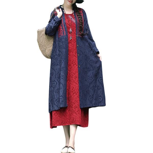 Vintage Femmes D'hiver À Long Manteau Jacquard Broderie Trench-Coat Col V Boutons Vers Le Bas À Manches Longues Poche Lâche Cardigan Survêtement