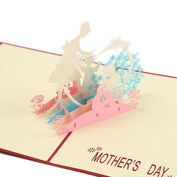 Tarjetas de felicitación creativas del día de la madre del día de acción de gracias 3d tarjetas hechas a mano del regalo de la madre