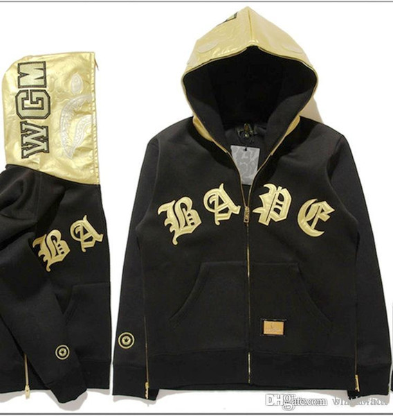 High Quality Popular Brand Men &#039 ;S Gold Leather Patchwork Hoodies Vintage Cardigan Jacket Winter Autumn Hooded Hoodies For Sale