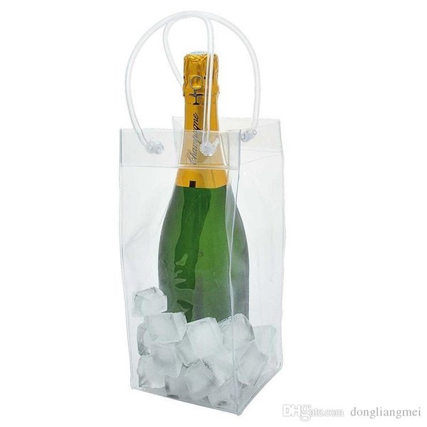 clear Wine Beer Champagne Bucket Drink Ice Bag Bottle Cooler Chiller Foldable Carrier Ice Bag Favor Gift Festival Bags wn088
