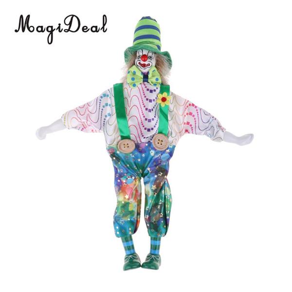 34 cm Lustige Clown Mann Tragen hochwertige Gelbe Seide Brokat Kleidung Figur Puppe Spielzeug Xmas Party Dekoration