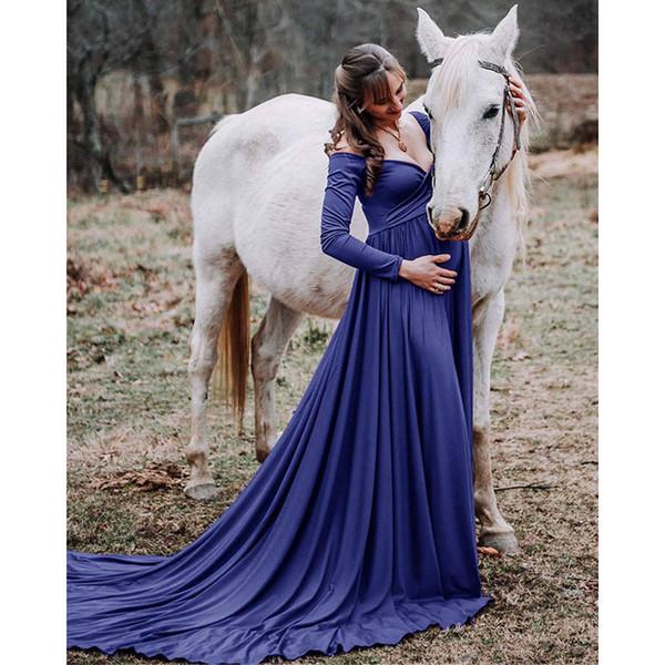 Cauda longa Sessão de fotos Maternidade Adereços Fotografia Maxi Vestidos Para Mulheres Grávidas Roupas Gravidez Vestido Q190521
