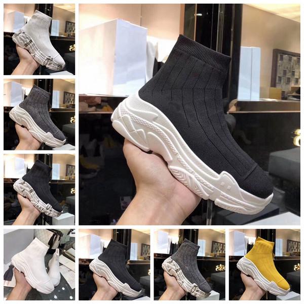 Luxo Triplo S Botas Novas Sapatilha Mulheres Sapatos Casuais Botas de Meia Do Vintage Trecho De Malha Slip-On Mulheres Meias Designer de Fundo Grosso sapatos
