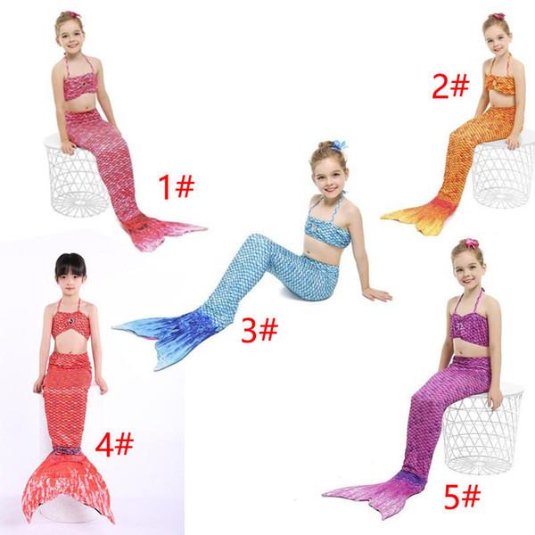 Chica Sirena Cola Swimmable Kids Sirena Cola Bikini Set Sirena Aletas Traje de baño Traje de baño Natación Ropa de playa Traje de baño Traje