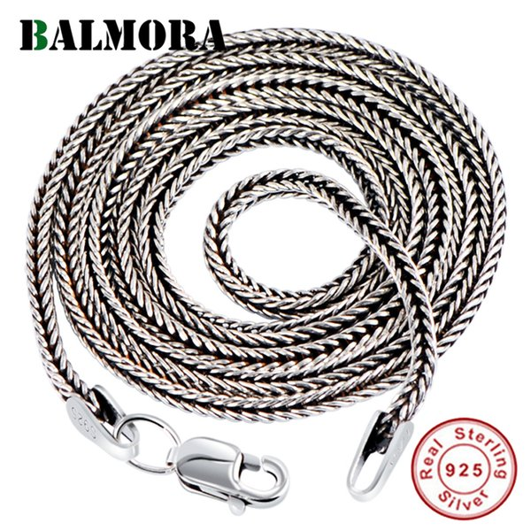 ashion Jewelry Necklace BALMORA Real 925 Sterling Silver Simple Chains Chokers Necklaces for Women Men for Pendant Accessories Vintage Fa...