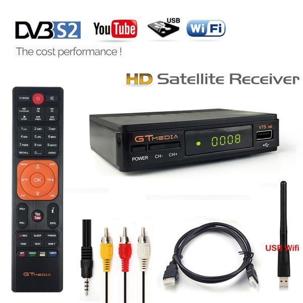 1080P HD DVBS2 Ricevitore satellitare GTmedia V7S Digital Box Ricevitore DVB-S2 Tuner Decoder AV USB Wifi Autorall Cccam / Biss / Vu Youtube