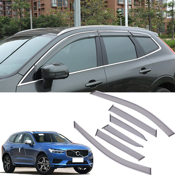 Car styling 6pcs Fit For Volvo XC60 2018-2019 Window Sun Wind Rain Visor Vent
