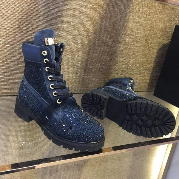 Fashion Snow Boots Women Shoes Winter Warm Ankle Lace Up Platform Motorcycle Boots with Logo Origin Box Antiskid Outsole Shiny Luxury Brand