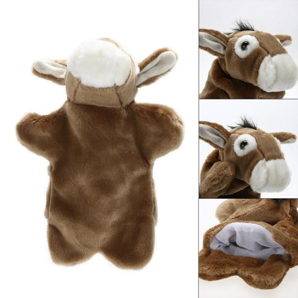 1 PC Lovely Donkey Hand Puppet For Kids Children Soft Doll Plush Toys Blue Brown PP Cotton Stuffed Toy Kids Ideal Birthday Gifts