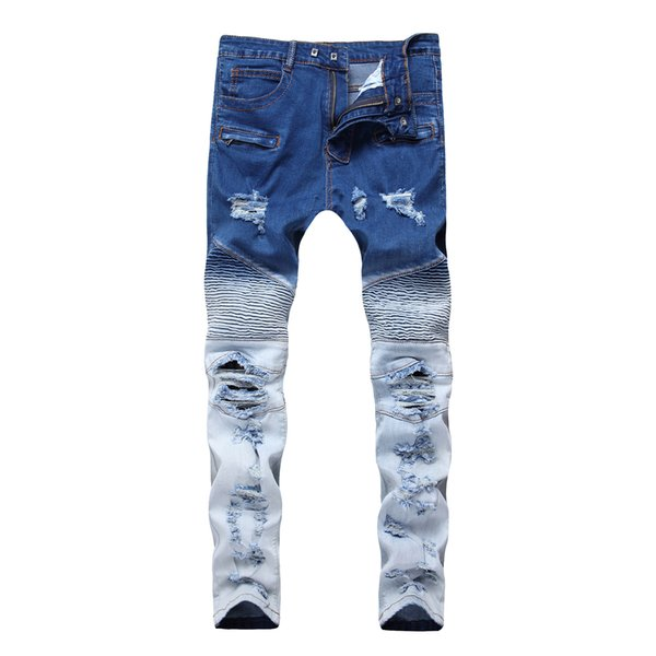 Mens Jeans Foreign Locomotive Skinny Jeans Zipper Spring Elasticity Double Color Broken Hole Mid Waist Fashion Ripped Pants Leggings