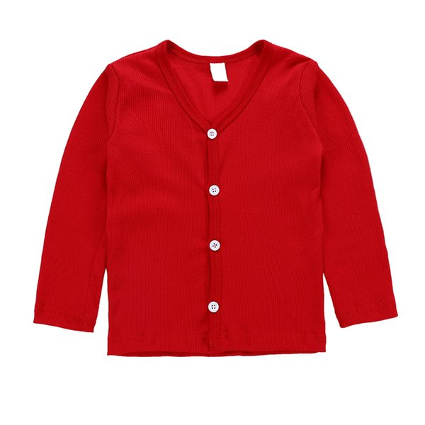 Children's Solid Color V-neck Female Boy and Girl Sweater Shirt Spring And Autumn Coat Long-Sleeved Cardigan Children's Clothes 8 Style