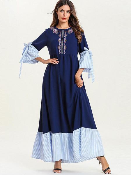 New Abaya Women Embroidery Maxi Patchwork Bow Plus size Dress Ruffle Three Quarter O Neck Estate Casual Turco Dubai Islam Robe