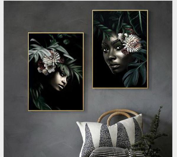 Murale di stile africano dipinti decorativi nero bellezza portico arazzi individuale pittura a olio di arte divano sfondo dipinti murali