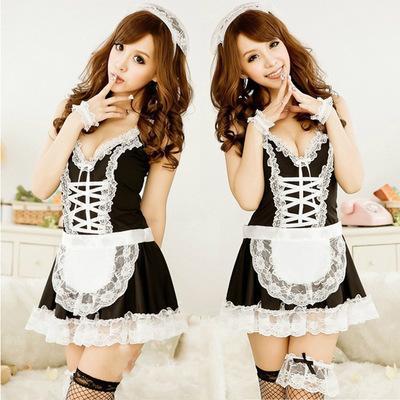 Женское Белье Черное Белое Французский Фартук Горничная Слуга Лолита Костюм Платье Униформа #AD
