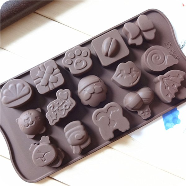New Silicone Chocolate Mold 15 Shapes Chocolate Baking Tools Non-stick Cake Mold Jelly&Candy 3D Mold Decoration DIY Hot Sale