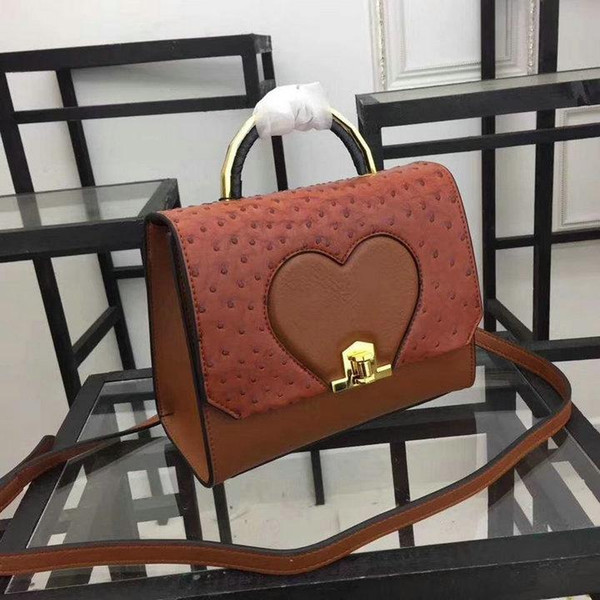 Small women shoulder bags hard shell real leather women smart crossbody with hardware hasp ostrich leather personal heart shape