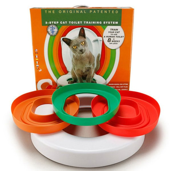 3 Step Cat Toilet Training System Kit Colourful Plastic Training Queakly Easy To Use Human Toilet 8 Weeks Or Less Pet Supplies Y19061901