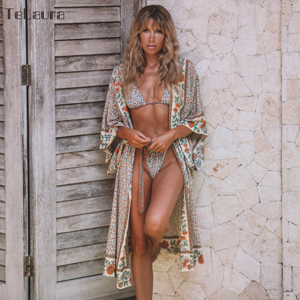 2019 Sexy Beach Cover Up Swimsuit Beach Dress Mujeres Bikini Traje de baño Ropa de verano Impreso Loose Boho Kimonos