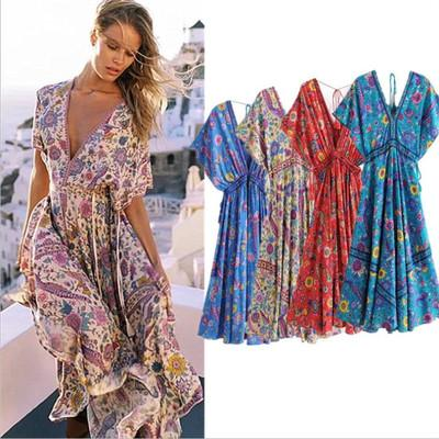 2019 2019 Summer Dress For Women Bohemian Style Women Maxi Prom Party  Dresses Evening Chiffon Women Clothing Vintage Long Summer Dress Plus Size  From ...