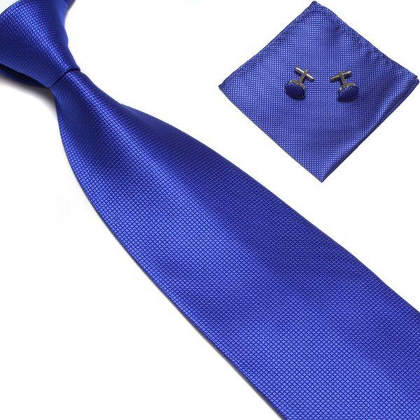 Herren Krawatten Sets Manschettenknöpfe Mariage Mens Ties Modeaccessoires 2019 Gravata Work Schwarz Blau Rot Hochzeit Krawatten Pocket Taschentuch
