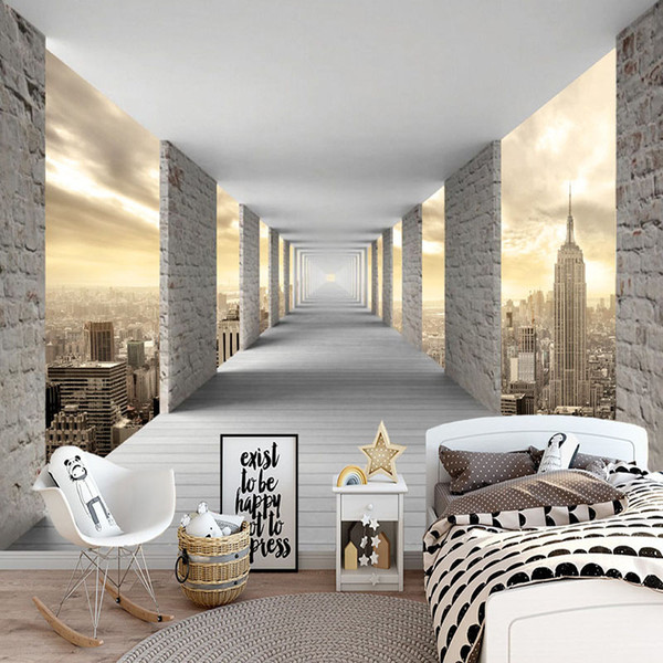 Modern Simple Mural Wallpaper 3D Stereo Geometry City Building Photo Wall Paper Personality Creative Living Room Bedroom Fresco