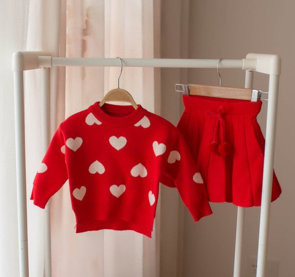 cute pink sweaters Promo Codes - Lady style Girls knitting sweater outfits  children love heart knitting dbfd25856