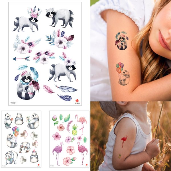 Waterproof Temporary Tattoo Body Art Sticker Cartoon Raccoon Panda Flamingo Decal for Kid Child Women Men Tattoo Design Face Arm Neck Makeup