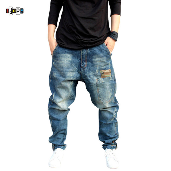 Idopy Men`s Harem Jeans Hip Hop Street Style Cuffed Plus Size Vintage Scratched Distressed Baggy Skateboard Denim Pants
