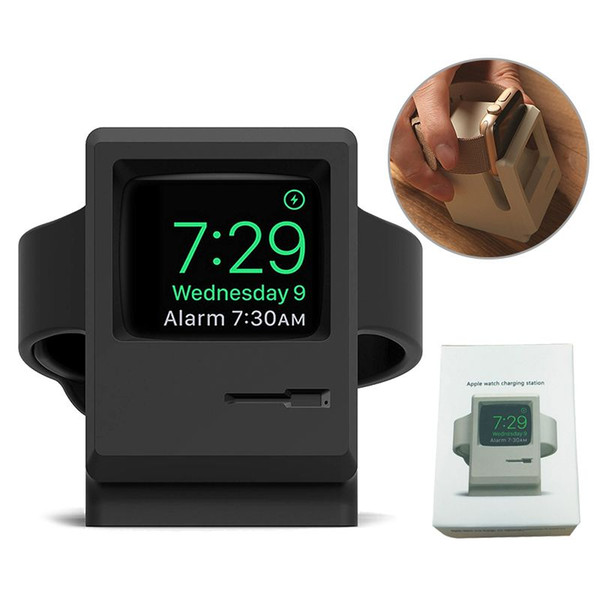 Retro Macintosh Silicone iWatch Charger Holder Charging Stand for iWatch Series 4 3 2 1 38 42 mm Cord Holder Charging Docking Station