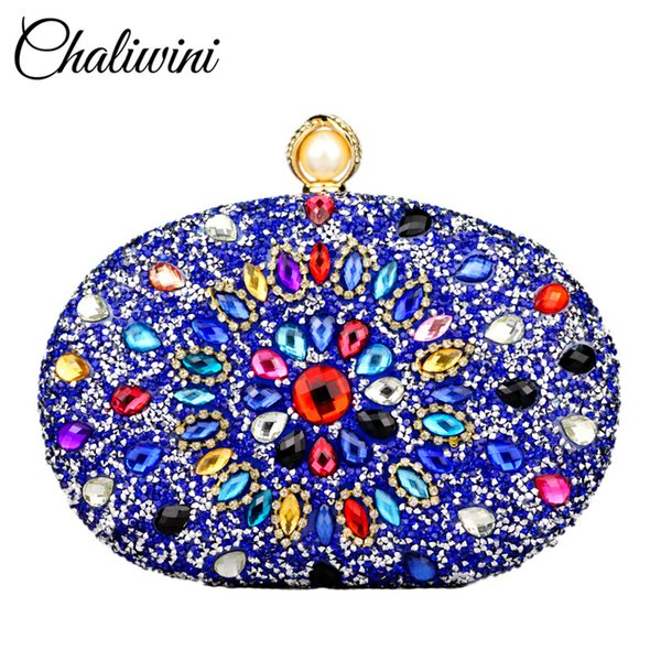 Noble Wallet Diamonds Flowers Woman Wedding Sequined Shoulder Bag Prom Bridal Blue Crystal Handbag Purses Evening Bags Clutches