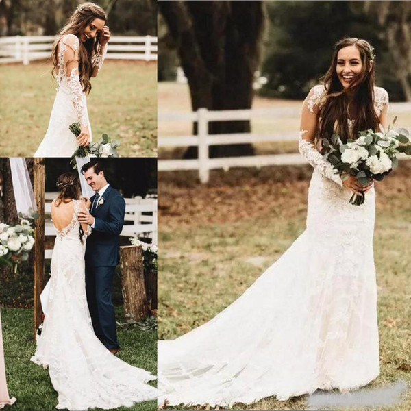 2019 Estate Boho Abiti da sposa con maniche lunghe Backless scollo a V Corte dei treni Abiti da sposa abiti da cerimonia per abiti da sposa bohemien