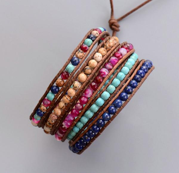 Nuovi misti pietre naturali onice perline braccialetti dell'involucro di cuoio fatti a mano all'ingrosso braccialetto della Boemia Dropshipping gioielli SH190727