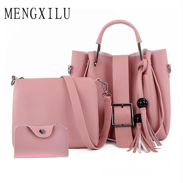 Bolsas de Couro PU Tote Bag 3 Pçs / set Mulheres Borla Bolsa de Ombro de Alta Qualidade Sacos Crossbody Mulheres Pequena Embreagem Bolsa Feminina