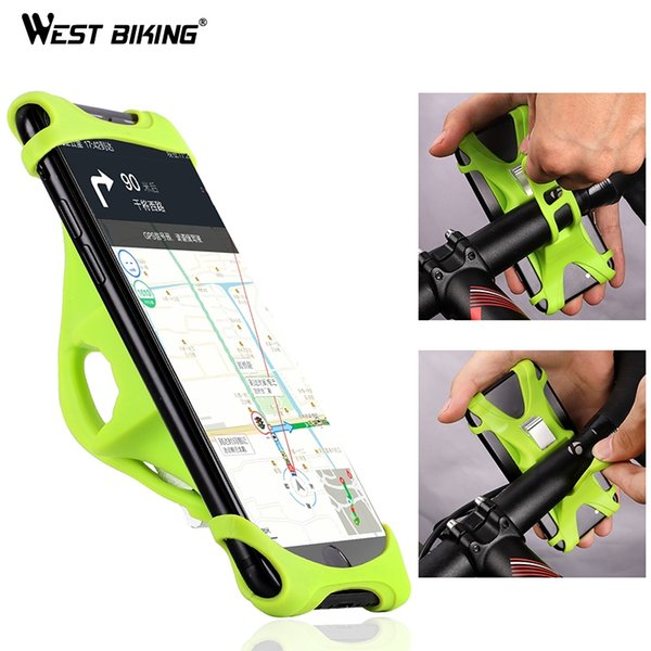 WEST BIKING Bicycle Handlebar Bracket Holder For Mobile Cell Phone GPS Stand Silicone Motorcycle Cycling MTB Road Bike Mount #250335