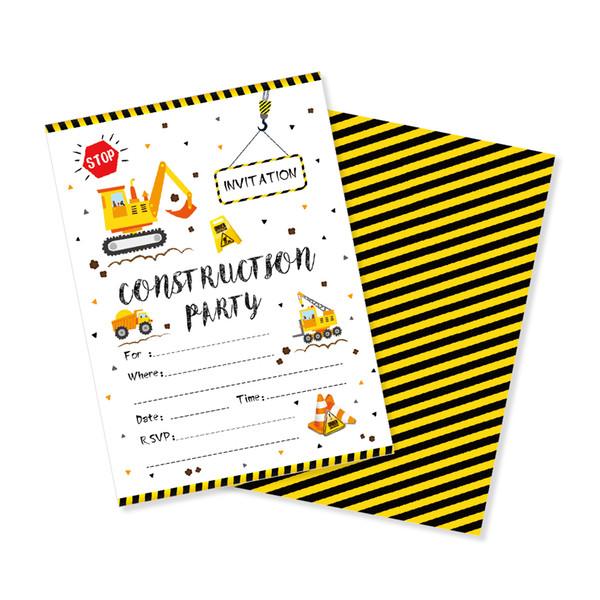 Compre Construcción Tema Tarjetas De Cumpleaños Invitaciones Dibujos Animados Excavadora De Automóviles Invitación Fiesta De Cumpleaños Favor