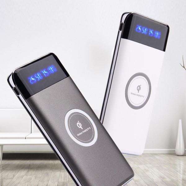Bank 10000Amh DC 0A White Wireless 5V 1A Power 5W Charger 10000mAh 1 Portable 0A Black USB Digital 2