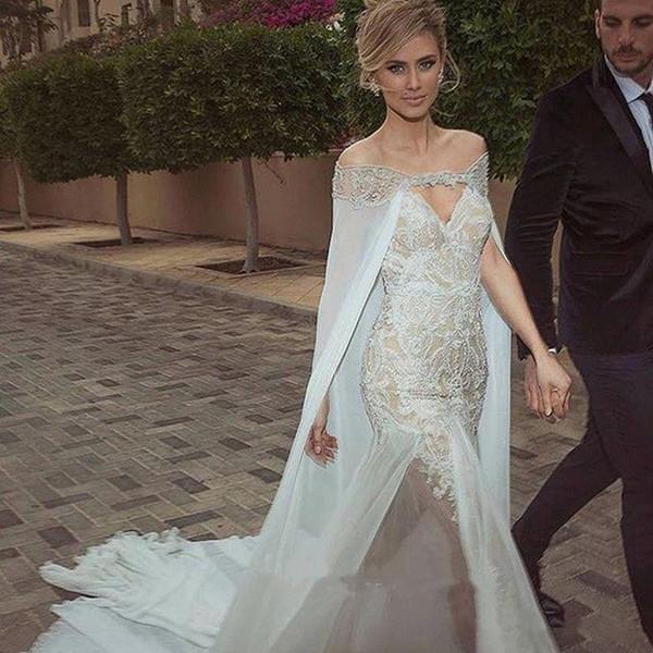 Elegant Mermaid Wedding Dresses With Detachable Jacket Wrap Sweetheart Lace Applique Chapel Train Bridal Gowns Sexy Sleeveless Wedding Dress